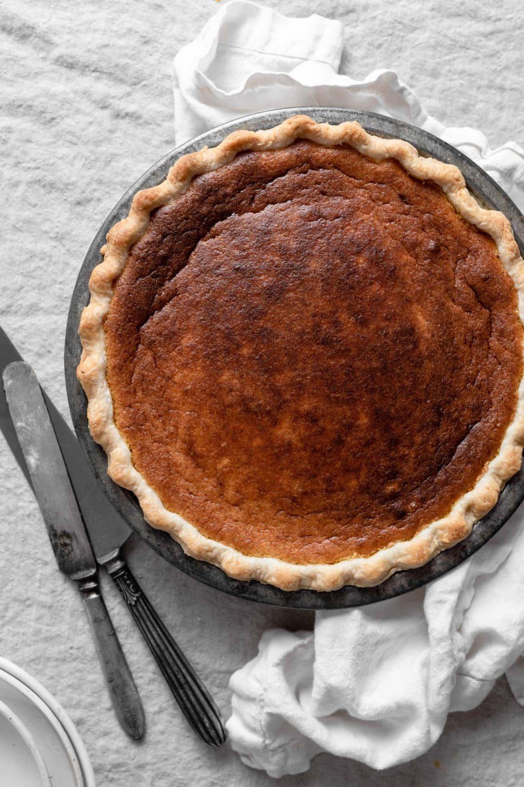Homemade Pumpkin Pie with fresh pumpkin puree