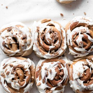 Sunflower butter cinnamon rolls with cream cheese frosting