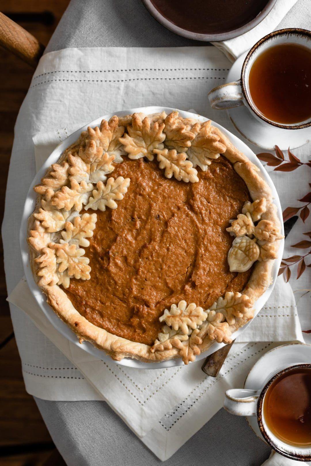 Sweet potato pie made with homemade pie crust