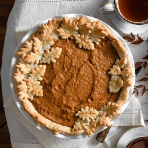 Sweet potato pie made with homemade pie crust