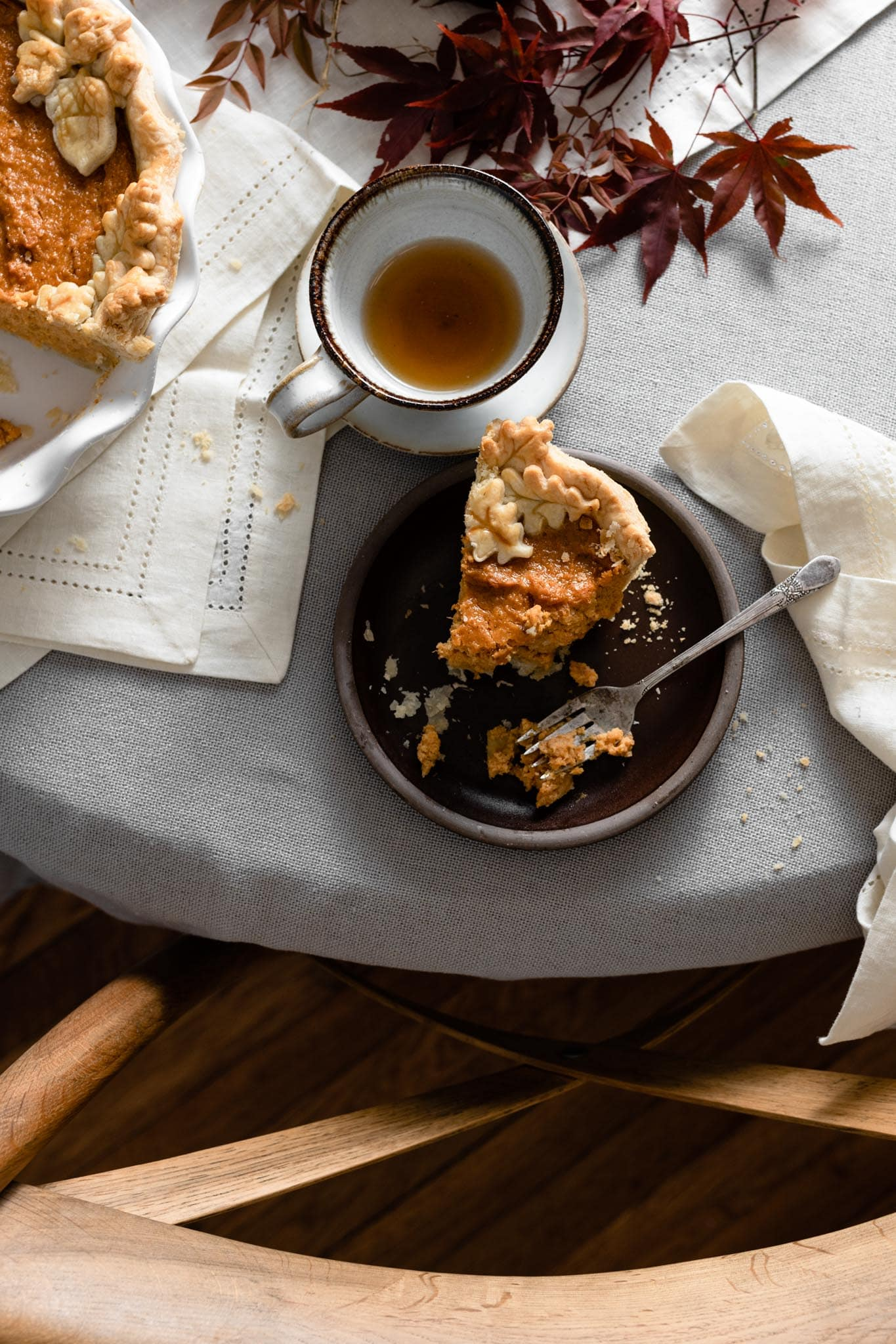 Sweet Potato Pie and tea for thanksgiving dessert