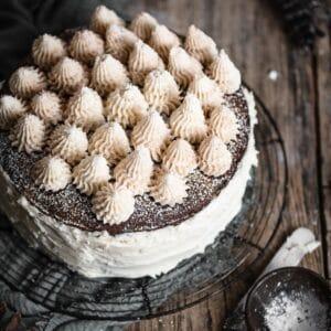 Caramel Hazelnut Chocolate Torte Cake.