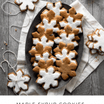 Recipe card for maple syrup cookies cut into snowflake shapes.