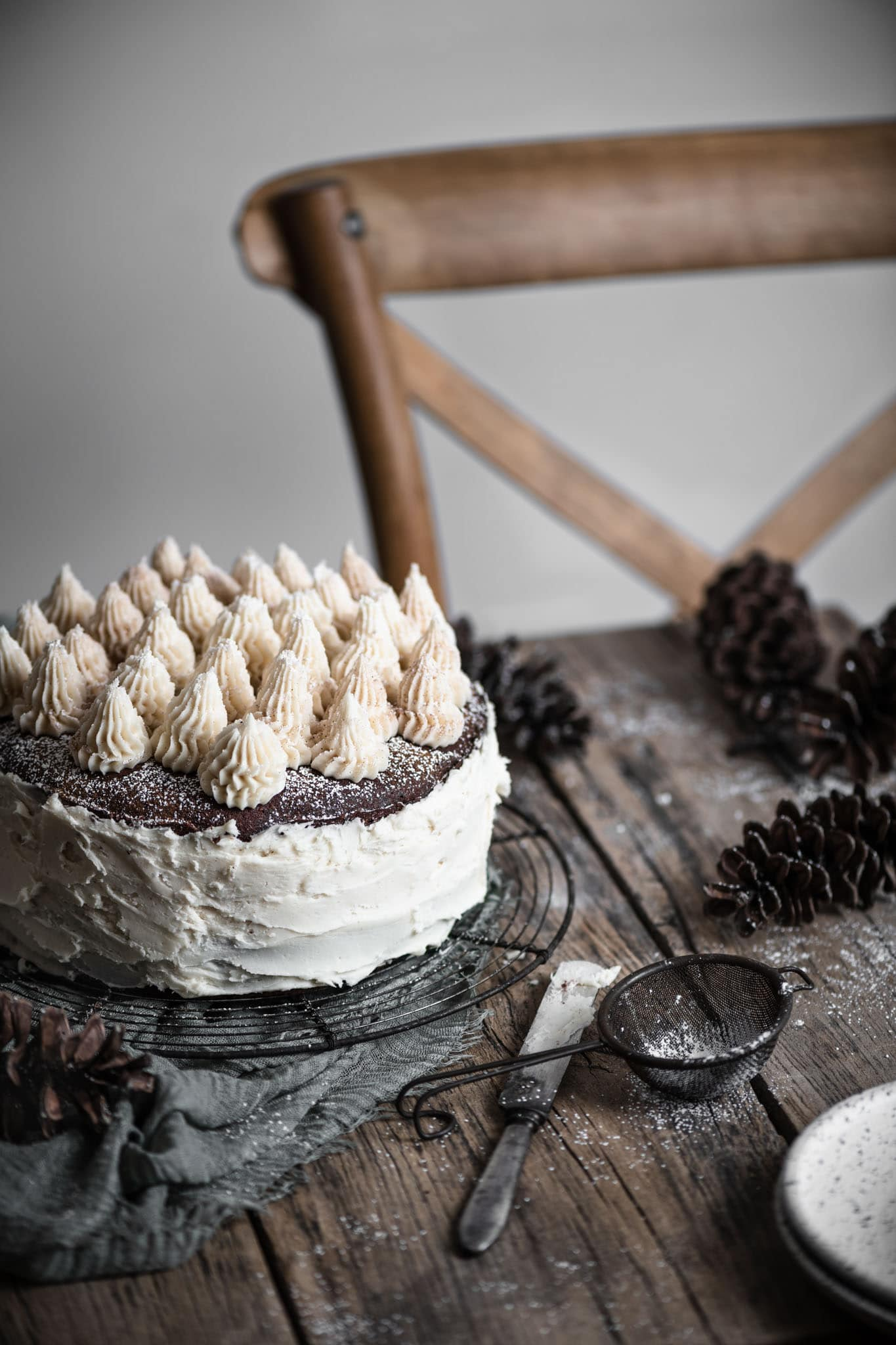 Christmas Chocolate Torte with kahlua buttercream.