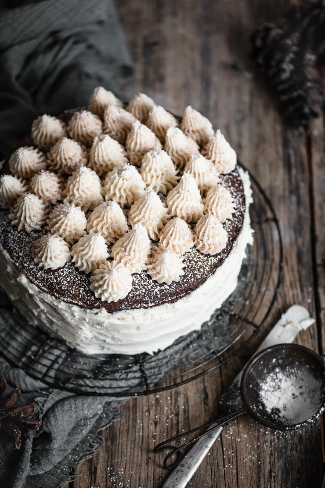 Christmas Chocolate Torte with kahlua buttercream
