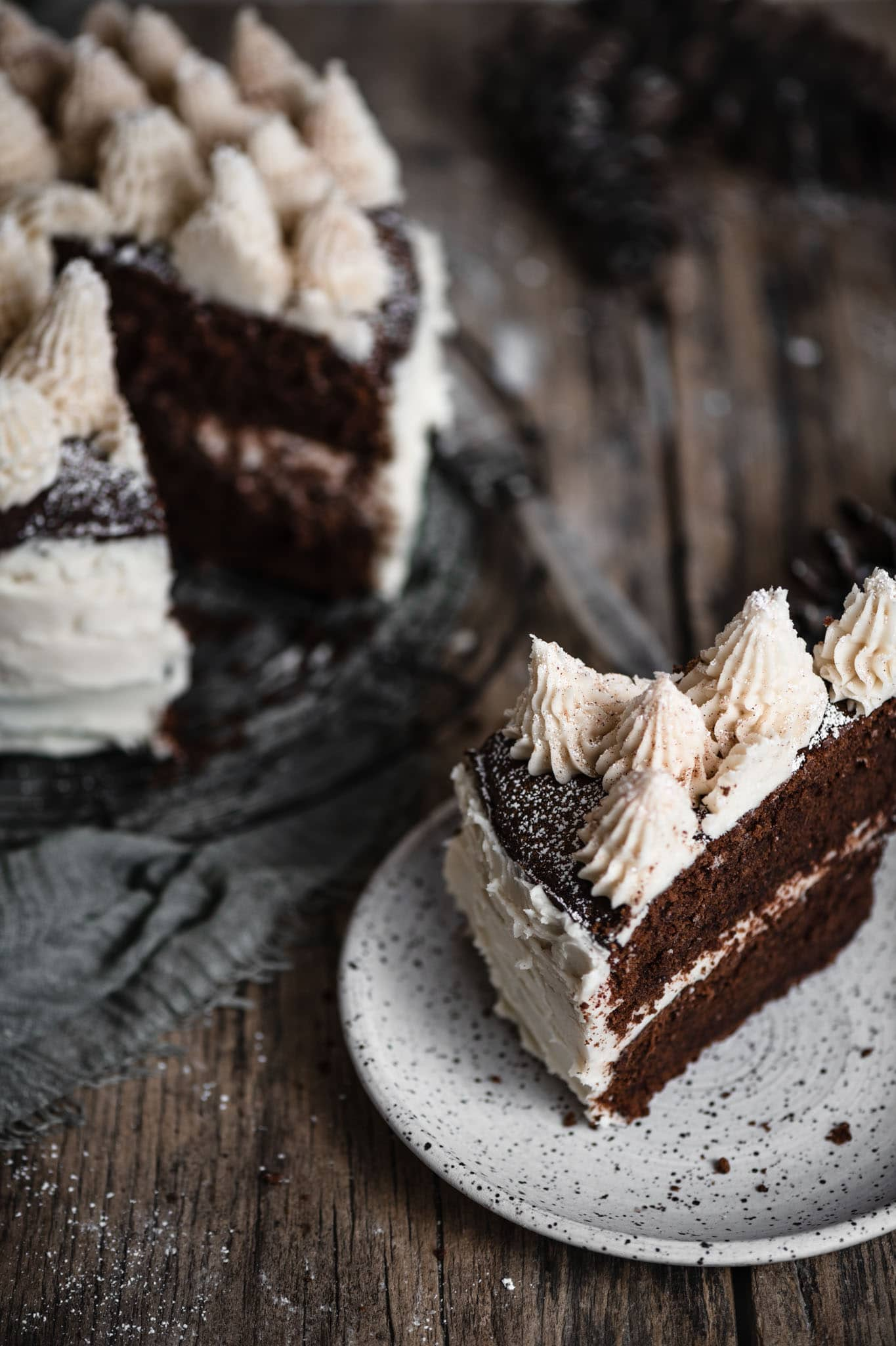 Chocolate torte cake with buttercream frosting.