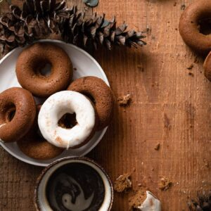 Baked Gingerbread Doughnuts with vanilla glaze