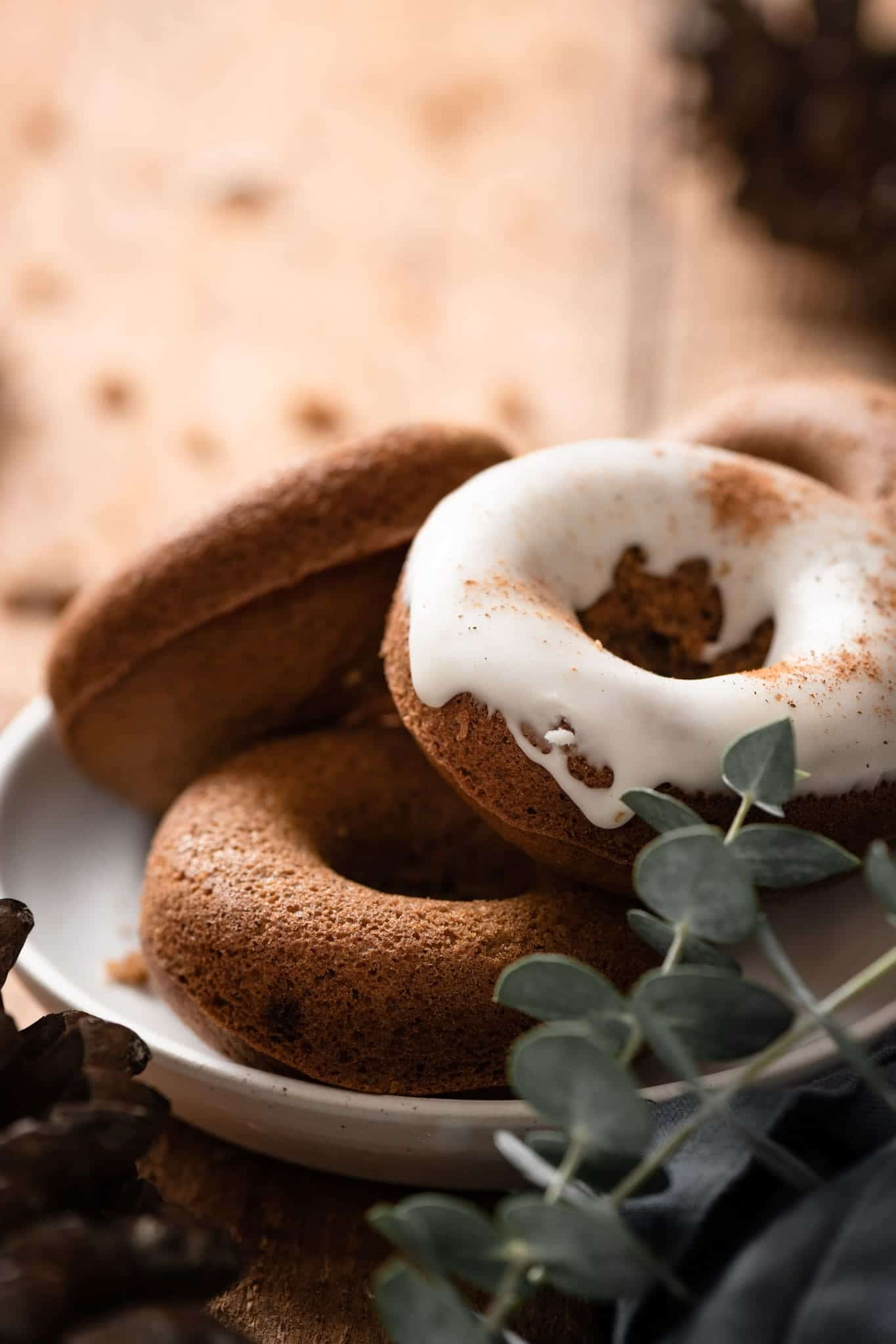 Homemade Gingerbread Doughnuts with vanilla glaze.