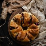 Christmas Wreath Break with pear blackberry compote, dark chocolate and pecans.