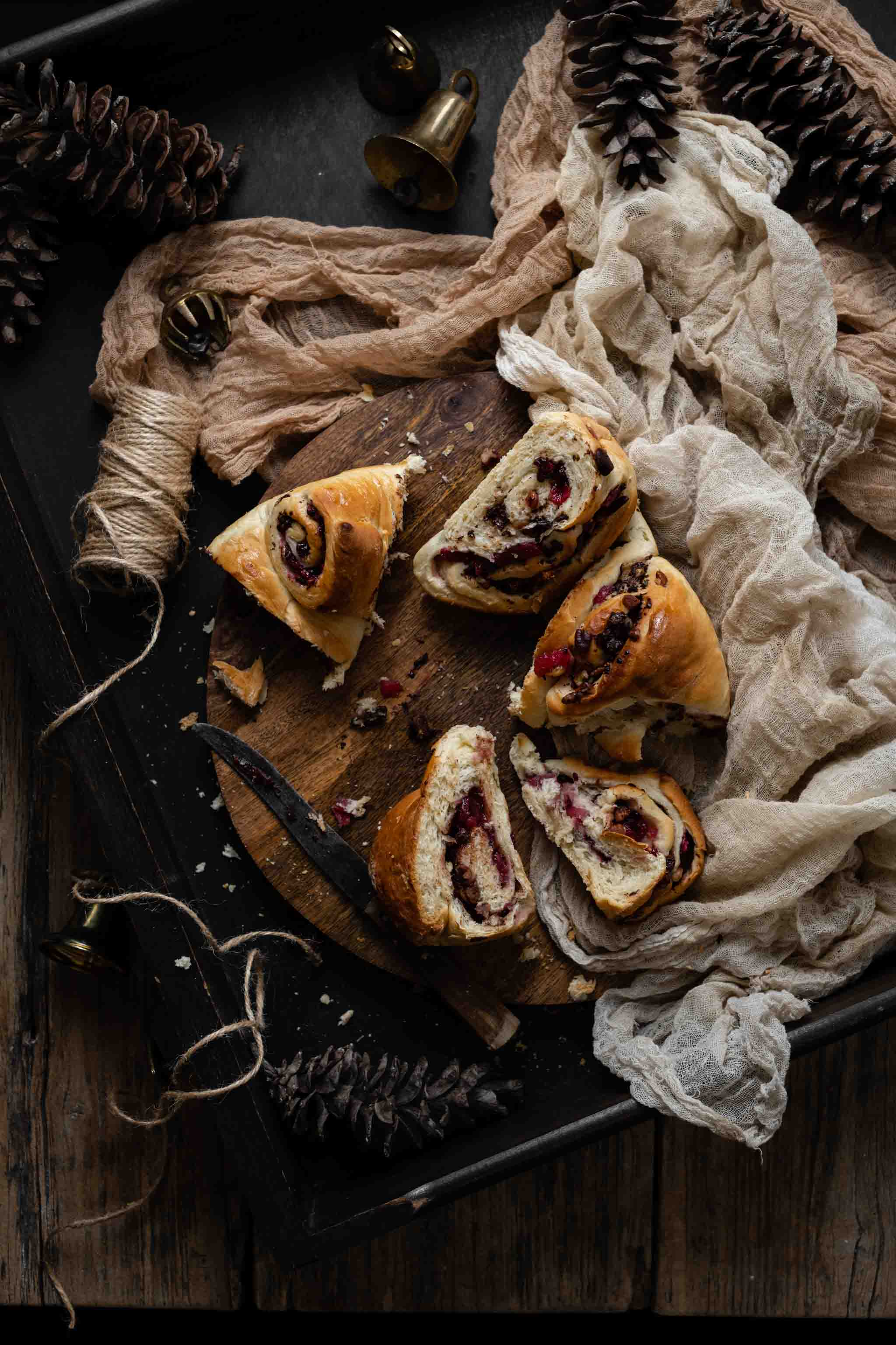Holiday Bread Recipe with blackberry compote, chocolate, and pecans.