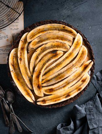 Banana Brûlée Tart Recipe with chocolate coconut crust.