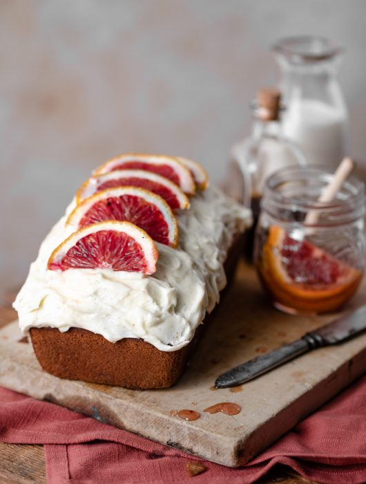 Olive Oil Blood Orange Cake with Vanilla Creme Fraiche Frosting.