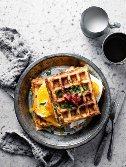 Savory Waffle breakfast sandwich.
