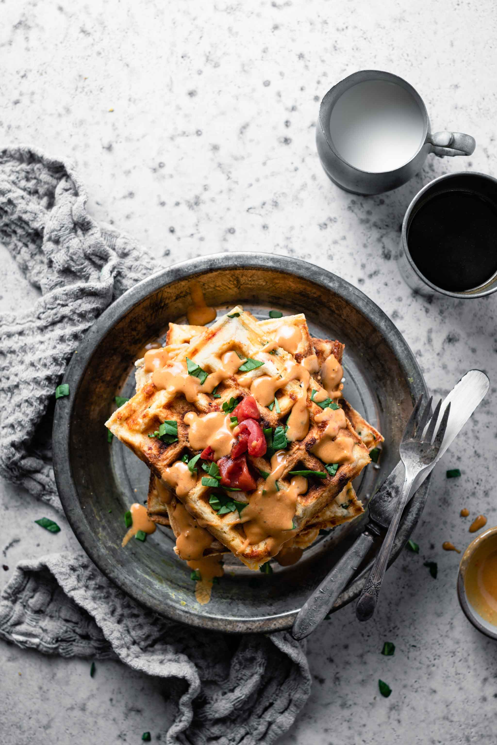 Savory Waffles with remoulade sauce.