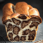 Leopard spotted bread with orange and chocolate.