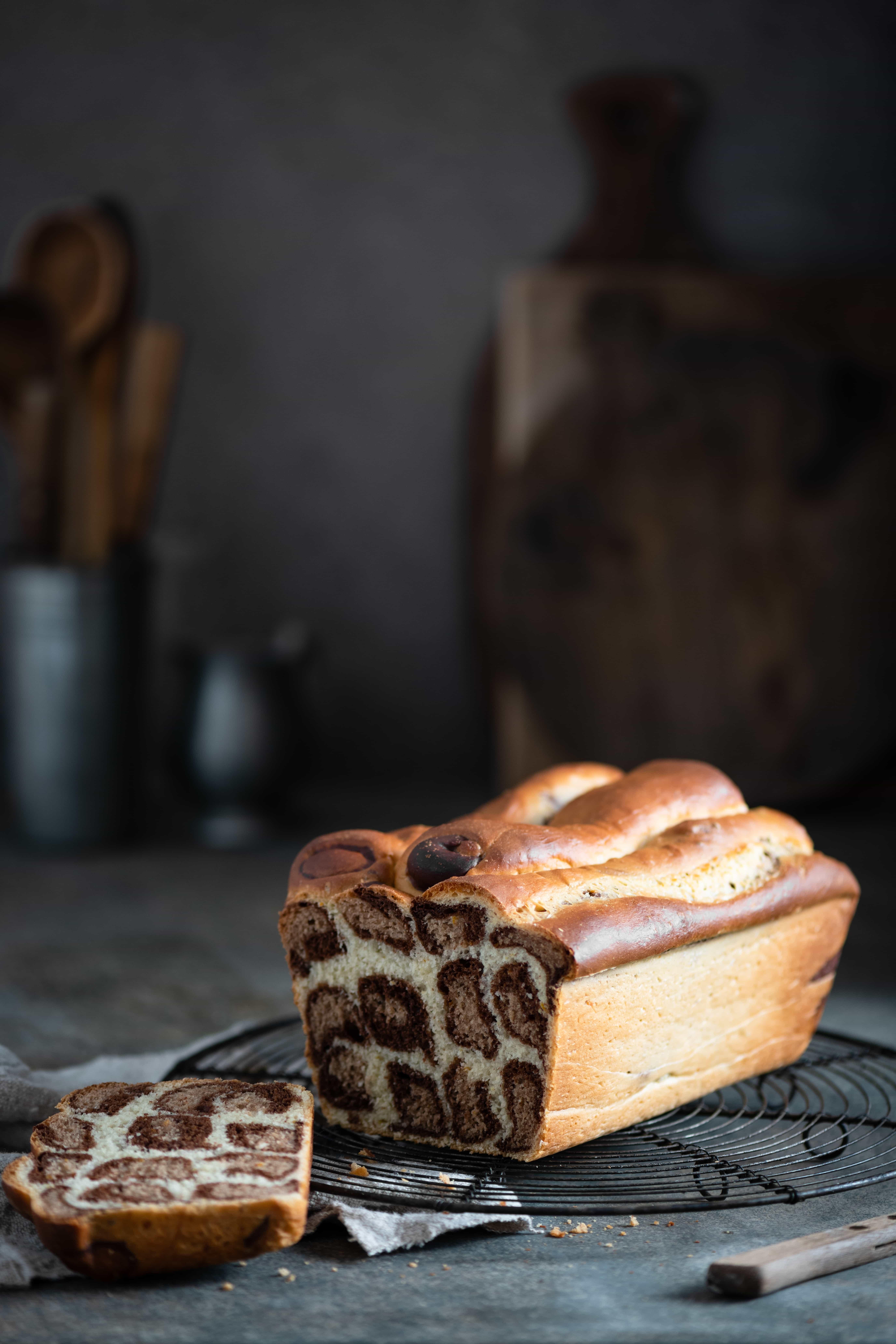 Leopard Bread made with dark chocolate and orange zest