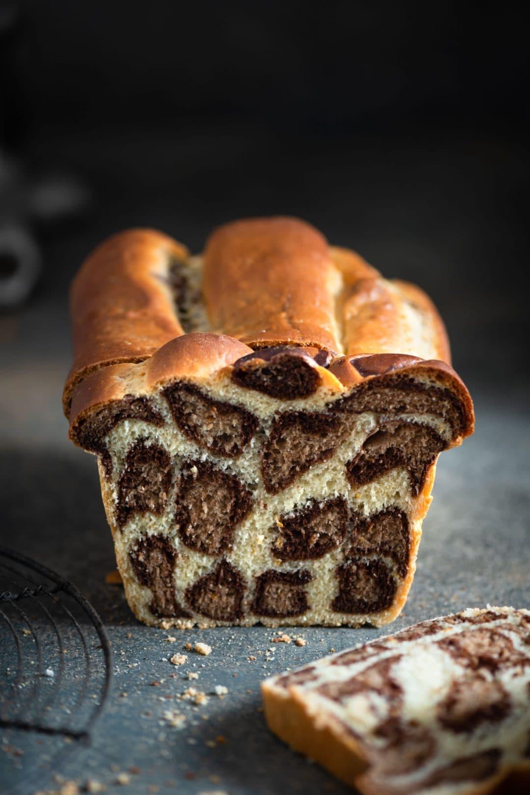 Homemade Chocolate Orange Leopard Milk Bread.