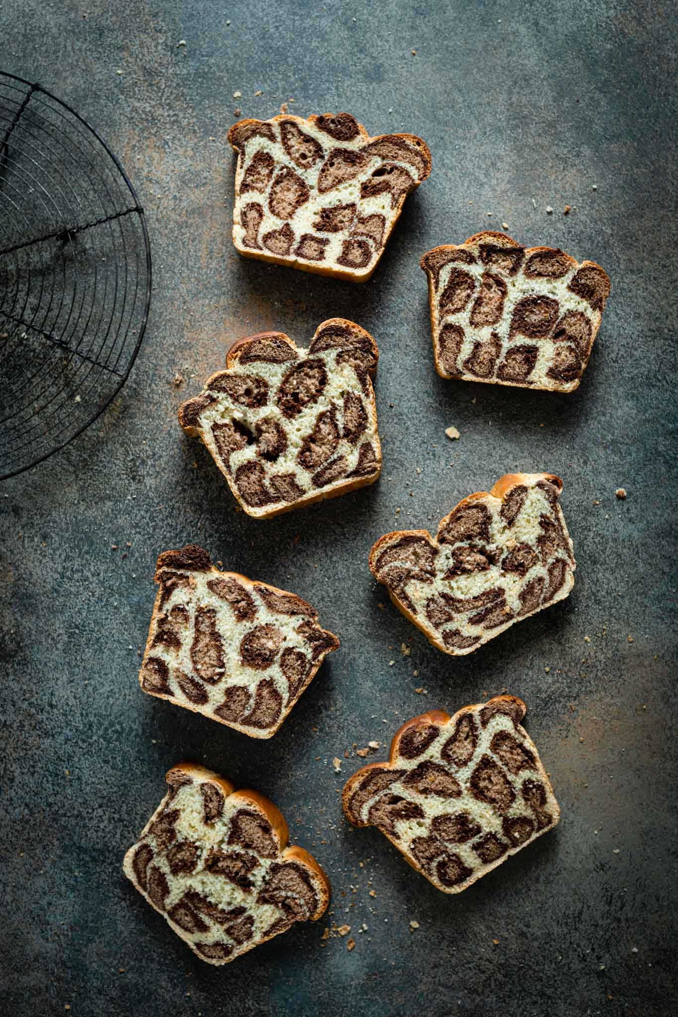Slices of homemade leopard milk bread