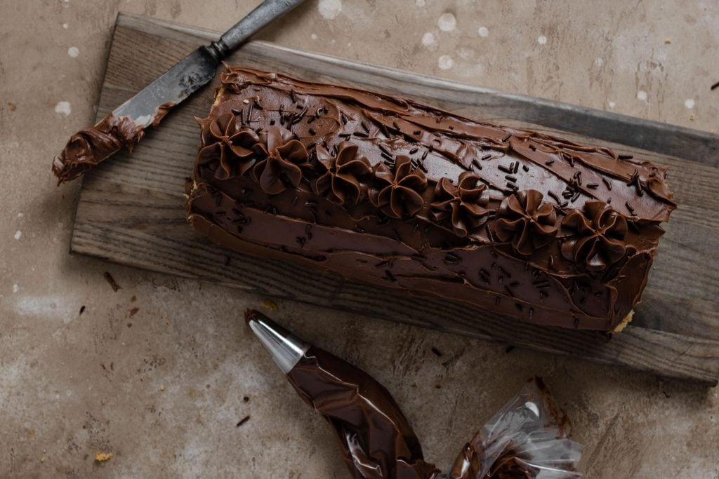 Chocolate Swiss Roll with Chocolate frosting.