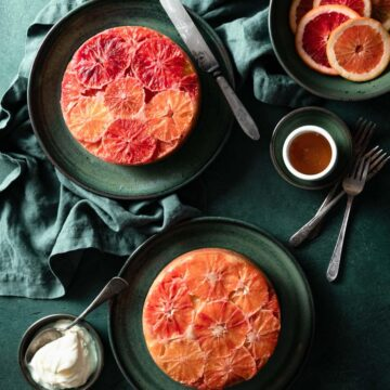 Upside down blood orange buttermilk cakes with honey.