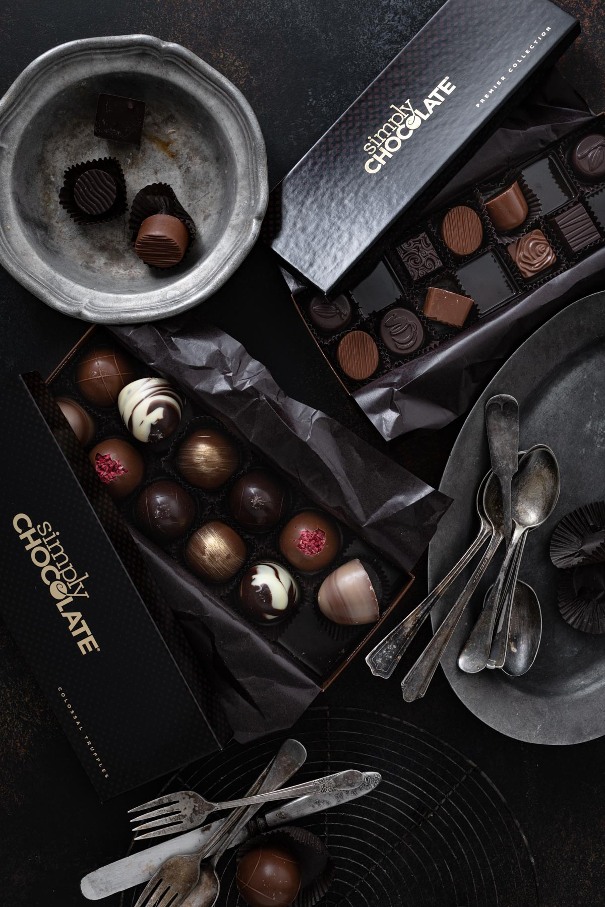 Box of Simply chocolate truffles for cookies.
