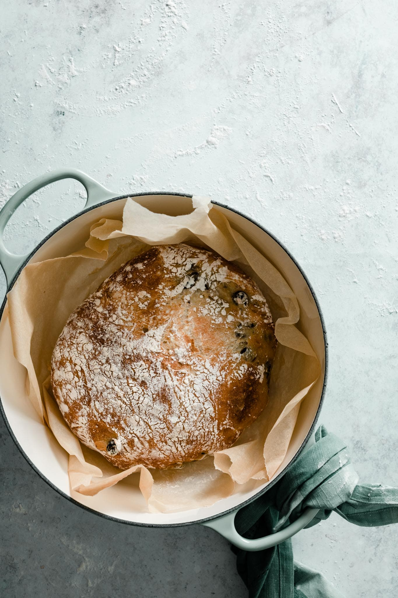 Dutch Oven no knead olive bread recipe.