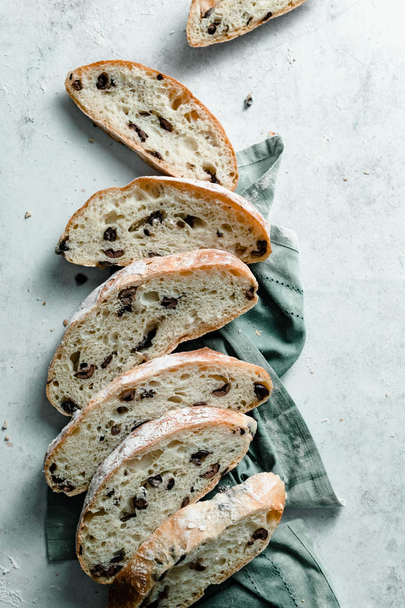 No Knead Olive Bread slices.