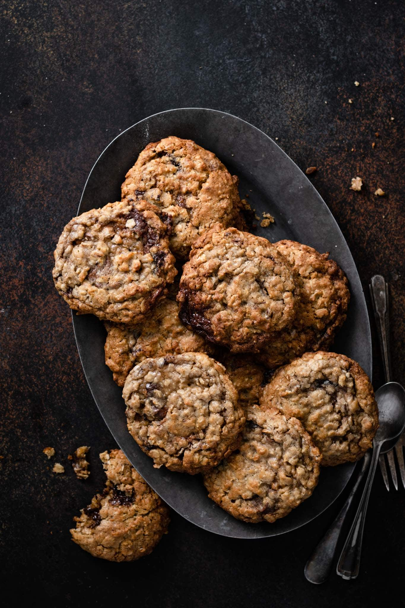 soft oatmeal cookies filled with chocolate truffles.