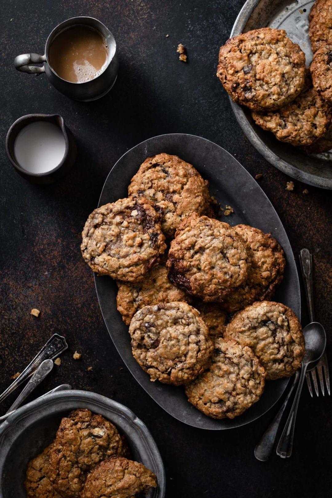 Oatmeal cookies full of chocolate truffles.
