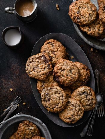 Oatmeal cookies full of chocolate truffles.