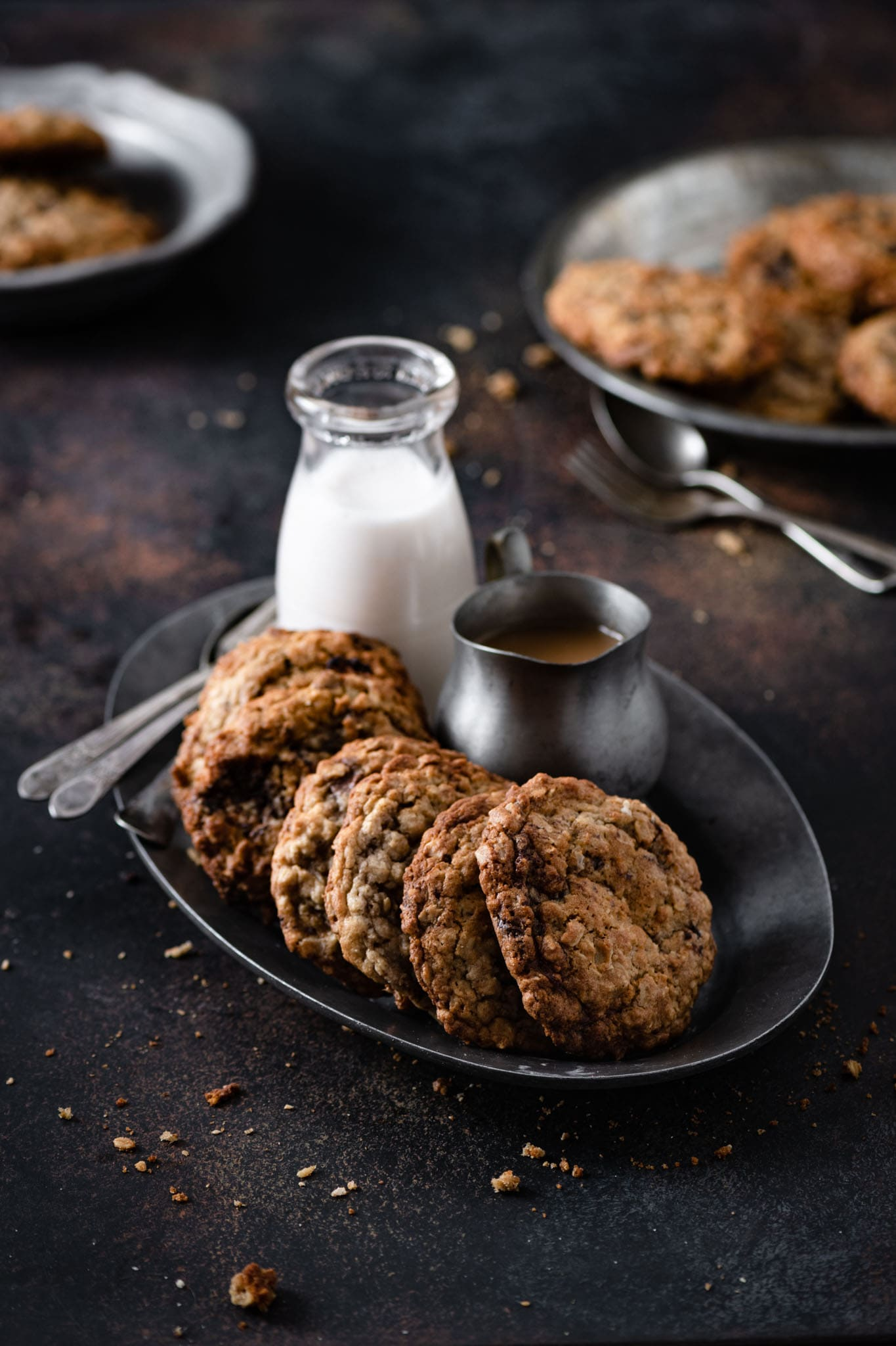 Chocolate Oatmeal cookie recipe with milk.