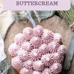 Purple cake frosting on vanilla layer cake.