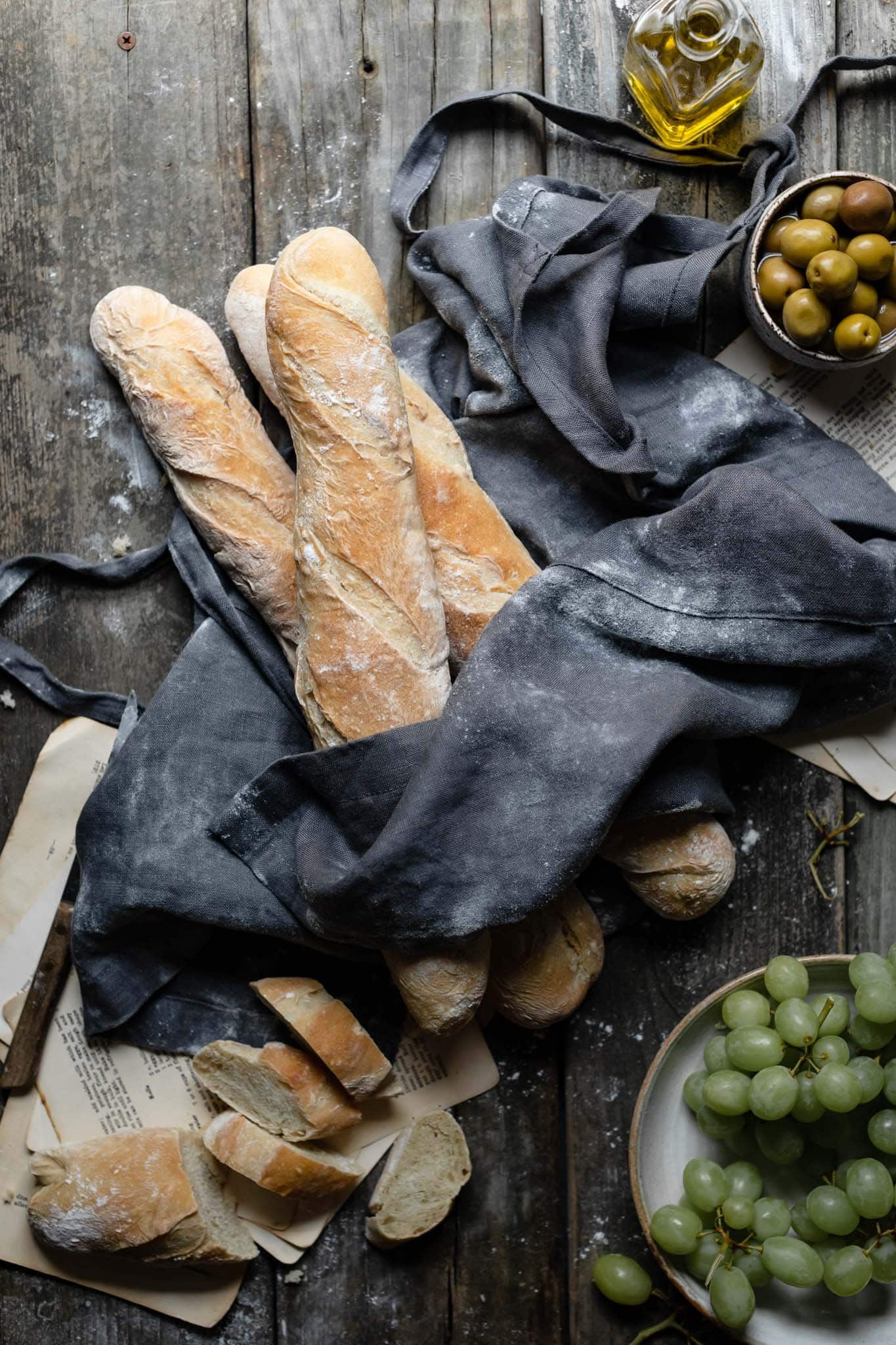 Recipe for french baguettes served with olives.