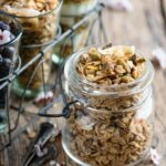 Homemade granola with pistachios and coconut.