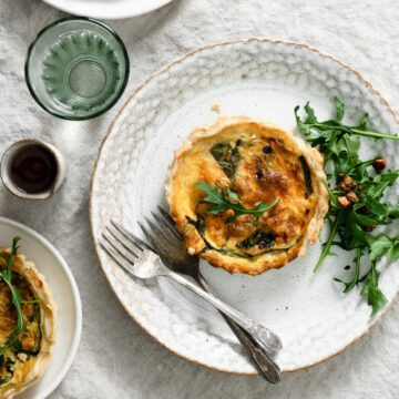 Breakfast mini quiche recipe made with bacon and spinach.