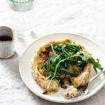 Spinach quiche recipe with arugula salad.