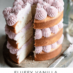 Recipe for moist fluffy vanilla cake.