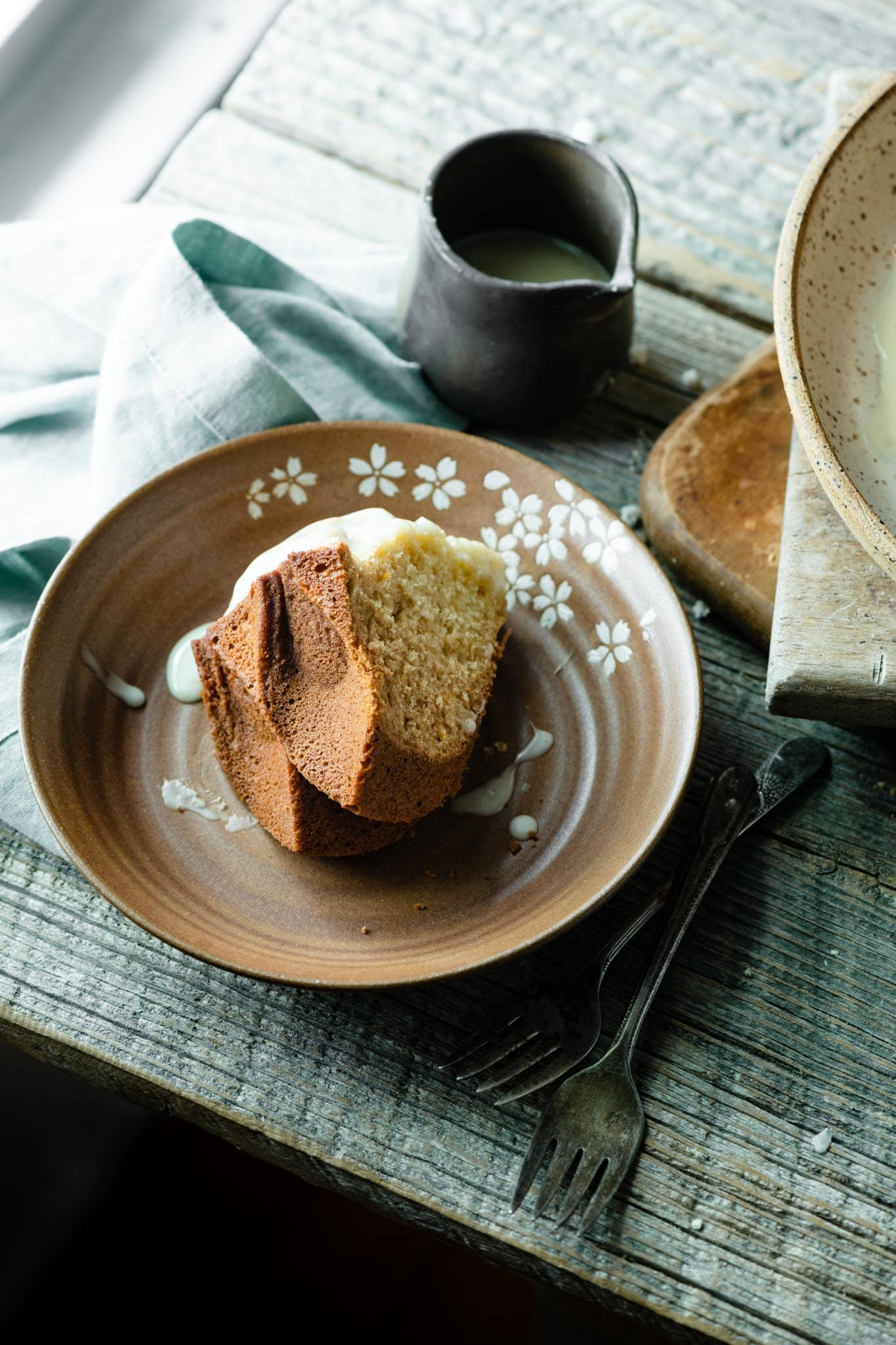 Slice of orange blossom honey cake.