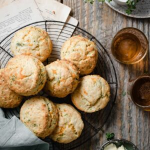 Mixed Herb Cheese Scones Recipe served with beer.