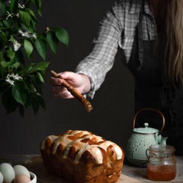 Apricot Jam on Hot Cross Buns Recipe.
