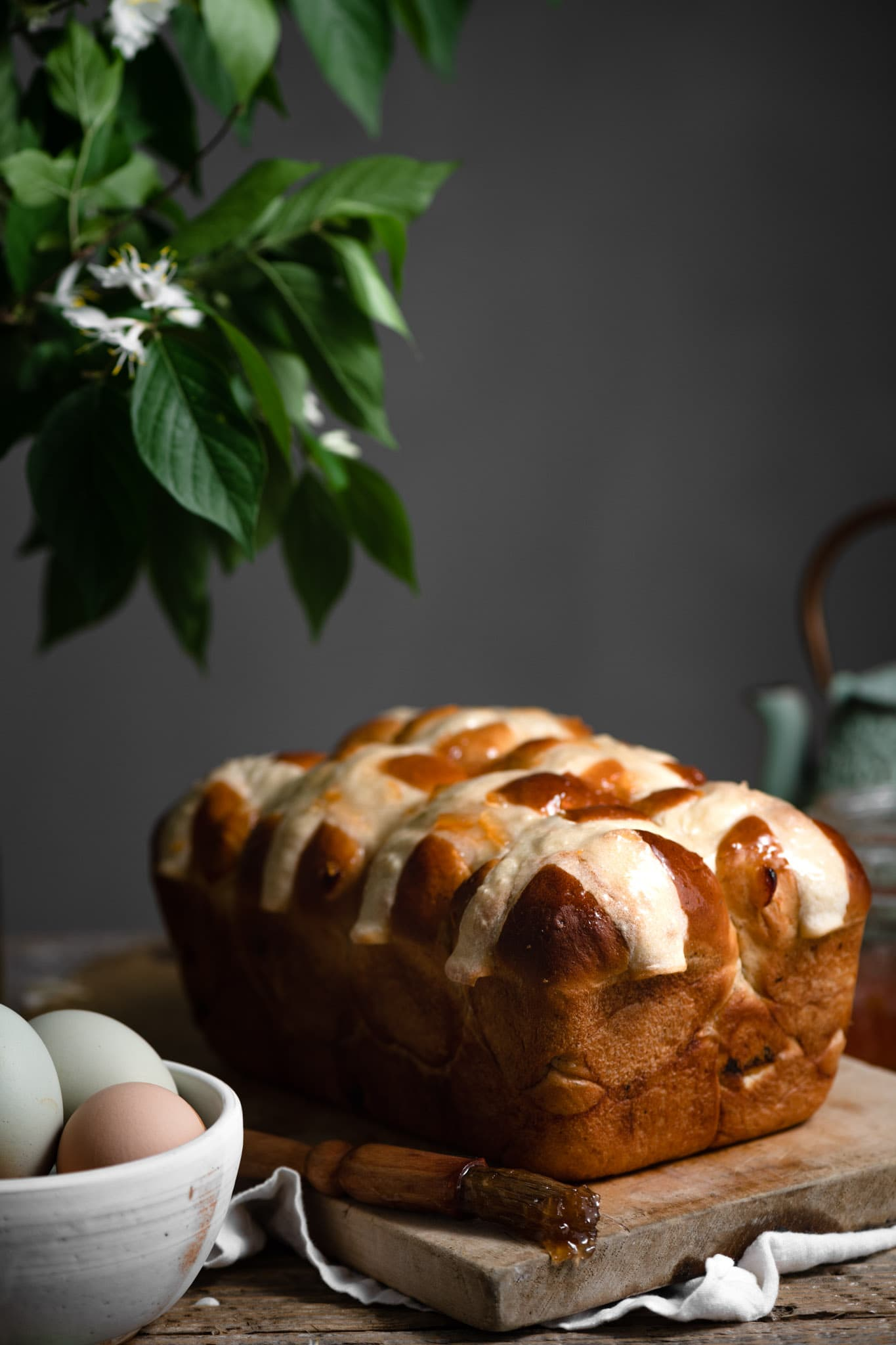 Apricot Hot Cross buns Loaf recipe.