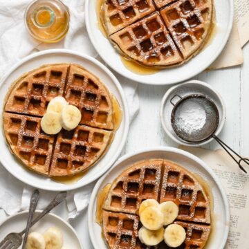 Sunflower Butter Banana Waffles with fresh bananas and honey.