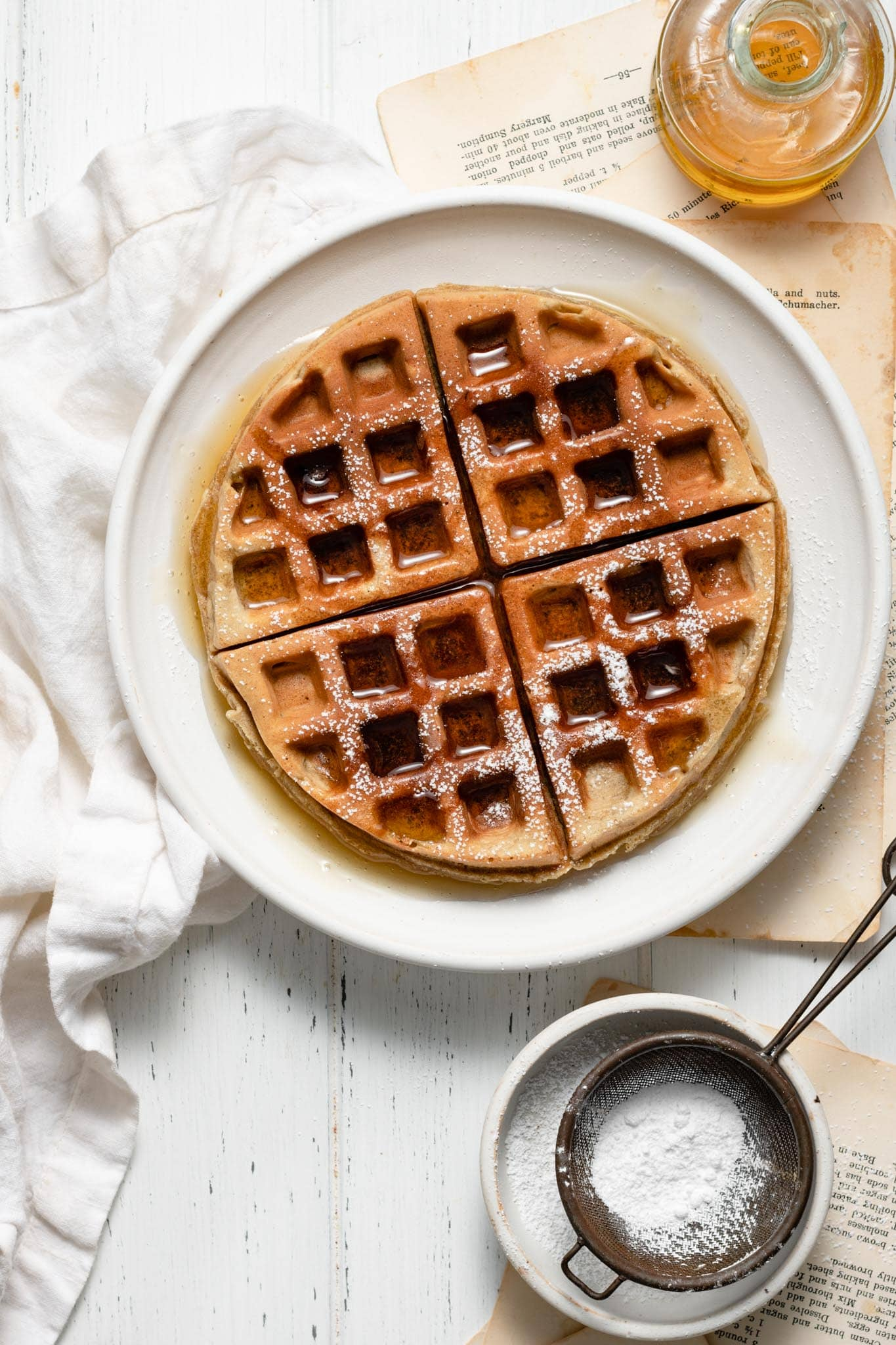 Sunflower Banana Waffles with honey.