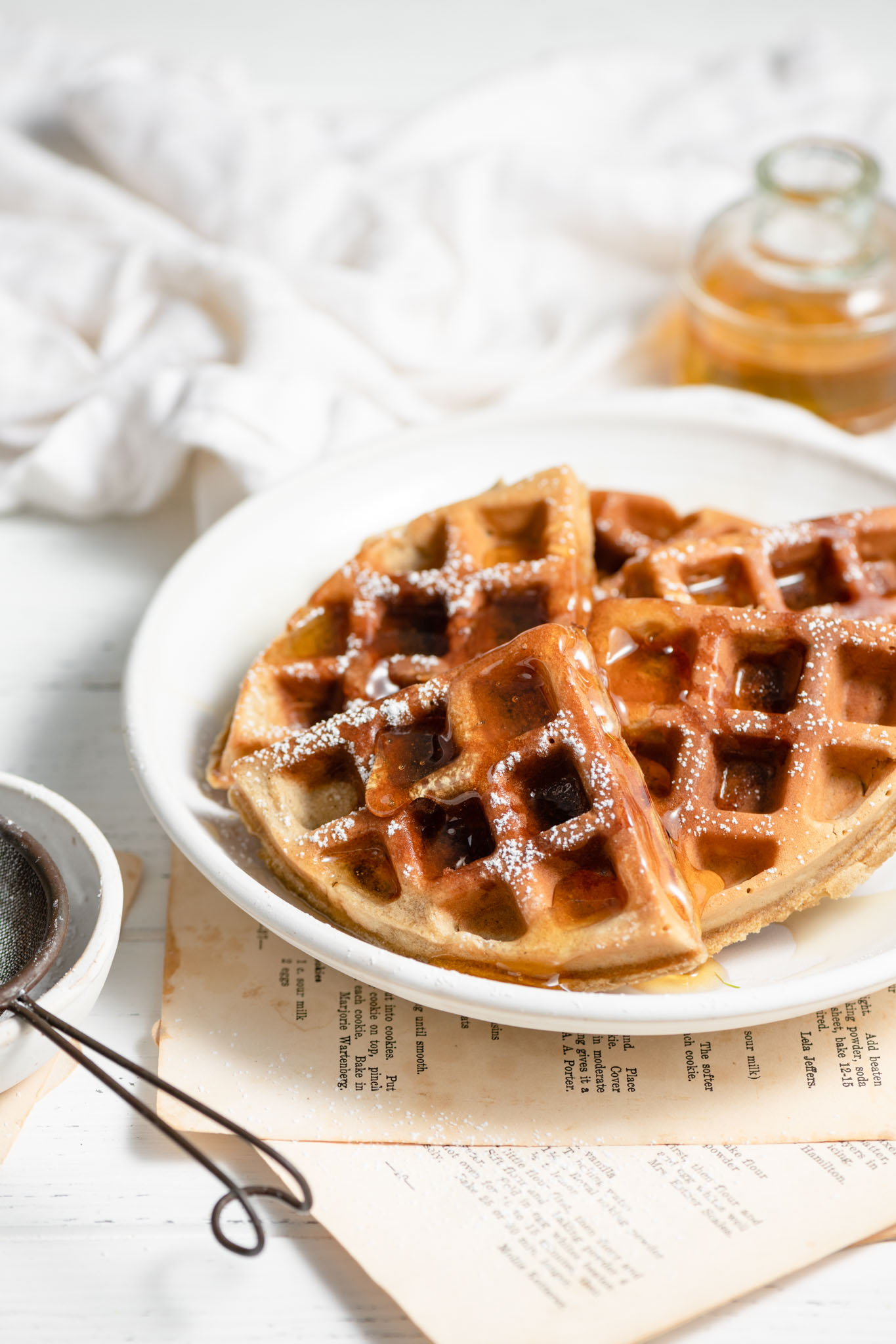 Belgian Waffles made with bananas and sunflower butter.