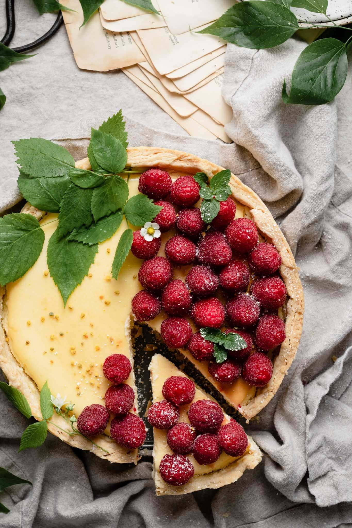 Raspberry topped lemon cheesecake recipe.