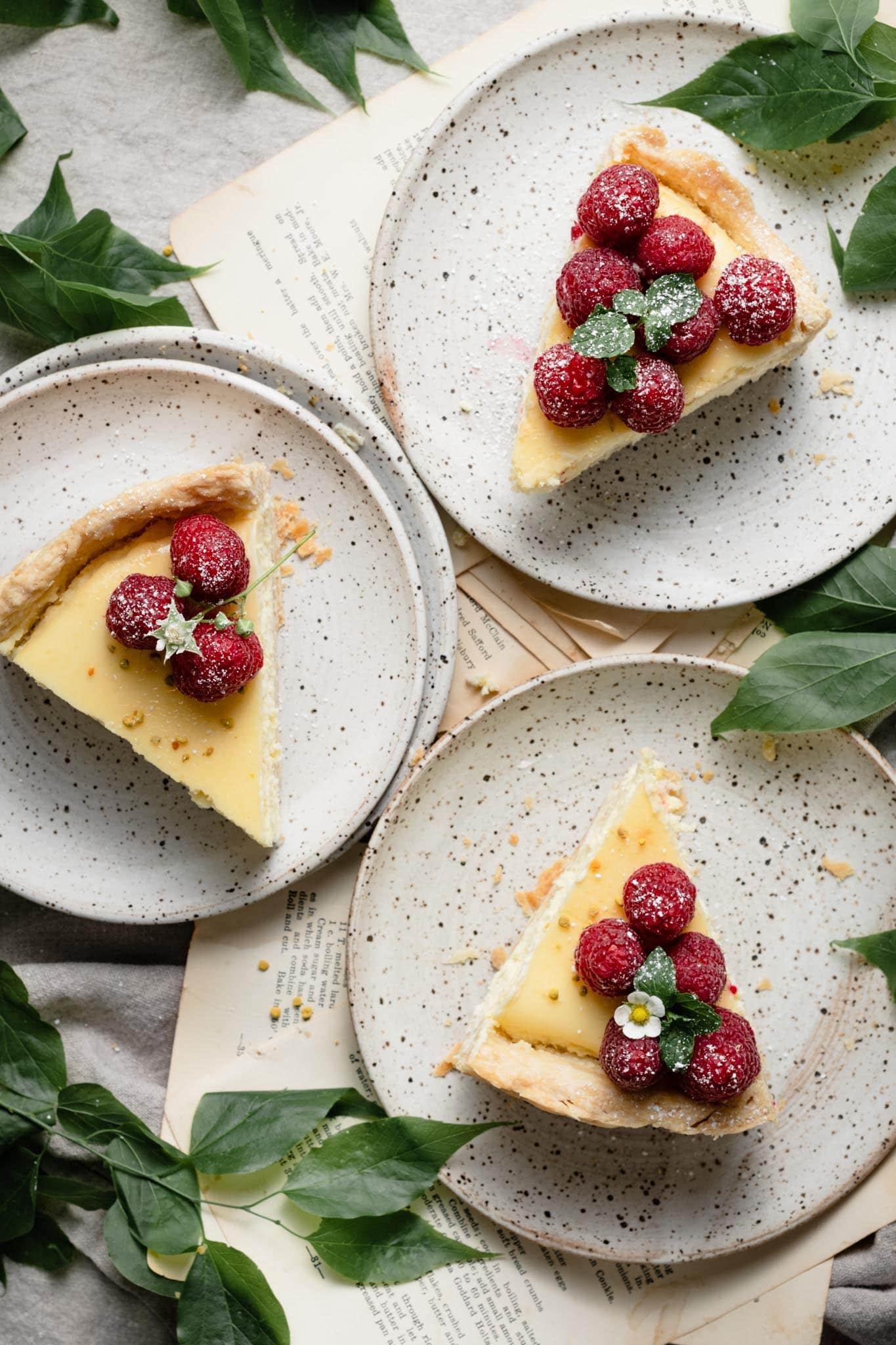 Lemon Curd Cheesecake Recipe with pie crust.