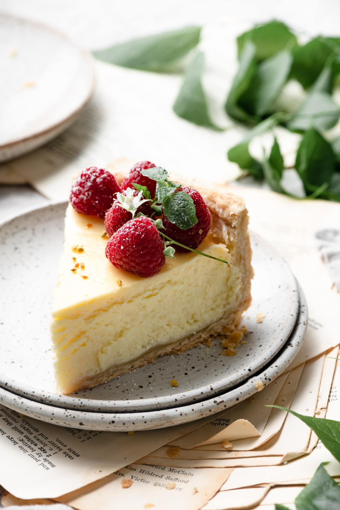 Lemon Cheesecake with pie crust.