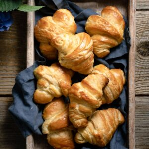 Homemade french croissants made with french butter.