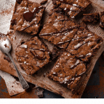 Fudge brownies recipe topped with sea salt.