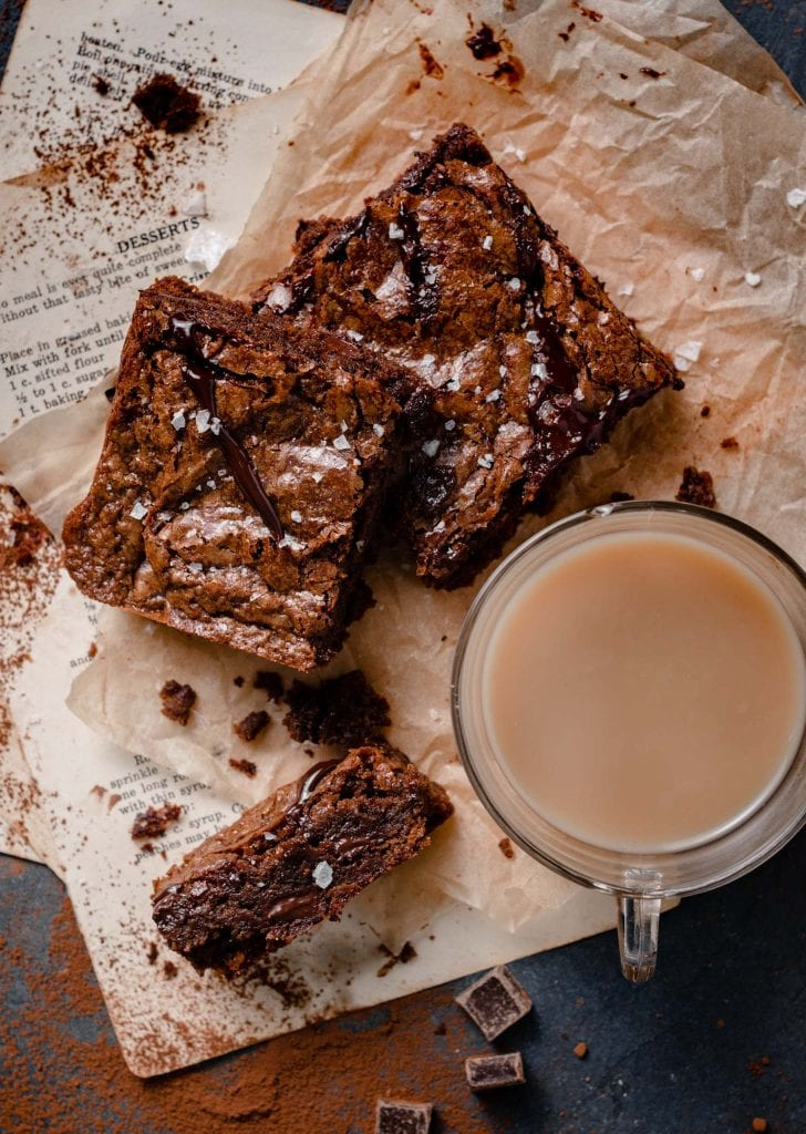 How to make brownies with dark chocolate and sea salt.
